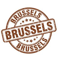 Brussels brown grunge round vintage rubber stamp vector
