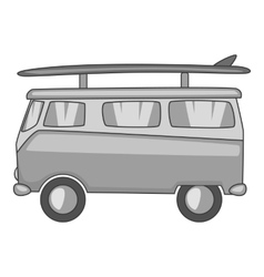 Bus with surfboard icon gray monochrome style vector