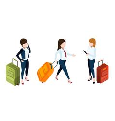 business trip concept businesswomen vector image