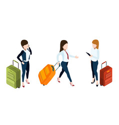 business trip concept businesswomen with vector image