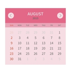 Calendar monthly august 2015 in flat design vector