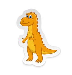 cartoon cute little badinosaur sticker vector image