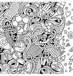 cartoon doodles soccer frame line art vector image