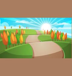 cartoon forest landscape road vector image
