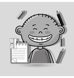 character cartoon child notebook vector image