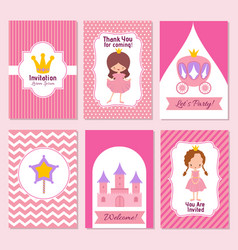 Child happy birthday and princess party pink vector