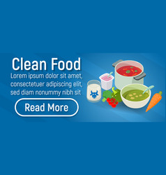 clean food concept banner isometric style vector image