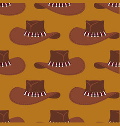 cowboy hat pattern australian cap background vector image