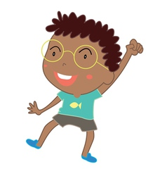 Cute young boy dance vector
