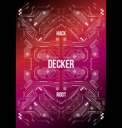 Cyberpunk futuristic poster tech abstract poster vector