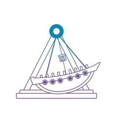 Degraded line mechanical ship ride carnival game vector