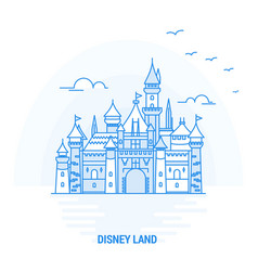 Disney land blue landmark creative background and vector