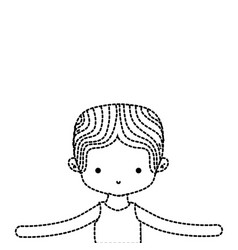 Dotted shape boy dancing ballet with t-shirt and vector