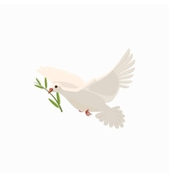 Dove with olive branch icon cartoon style vector image