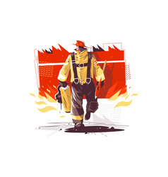 Firefighter characters with rescue equipment vector
