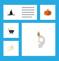 flat icon halloween set of magic cranium witch vector image