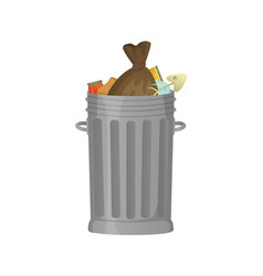 garbage bin with plastic bag and litter rubbish vector image