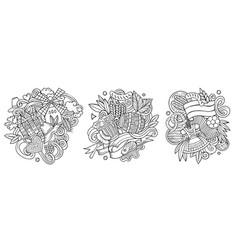 Germany cartoon doodle designs set vector