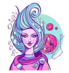 Girl symbolizes the zodiac sign scorpio pastel vector