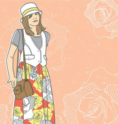 Girl with Pattern Dress vector