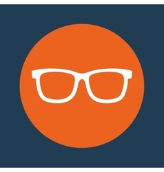 Glasses orange emblem over blue background icon vector