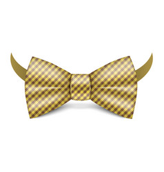 Gold striped bowtie icon realistic style vector