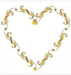 gold Valentine's floral frame vector image