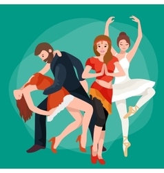Group of dancing people yong happy man and woman vector