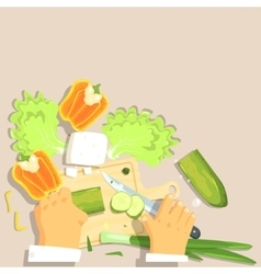 Hands Of Professional Cook Cutting Vegetable vector