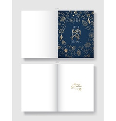 Handwritten Christmas greeting card with many vector image vector image