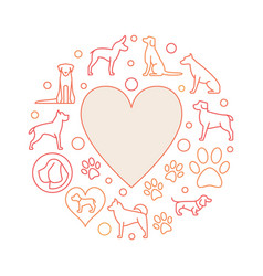 Heart with dog icons round vector