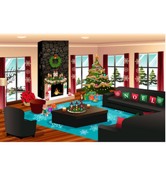 house with christmas decoration vector image