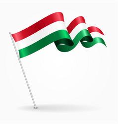 Hungarian pin wavy flag vector