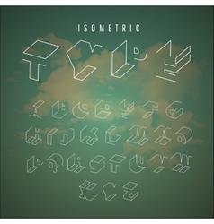 Isometric outline alphabet vector image