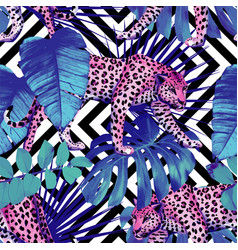 leopard and tropical plants geometric black and vector image
