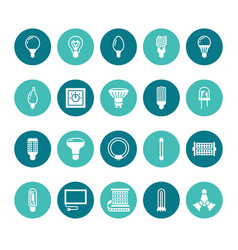 light bulbs flat glyph icons led lamps types vector image