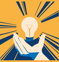 lightbulb in hand with glow lamp flat vector image