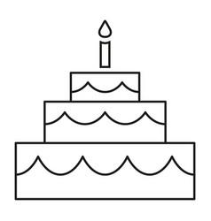 Line art black and white birthday cake vector