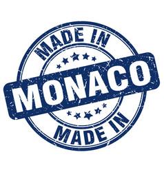 Made in monaco blue grunge round stamp vector