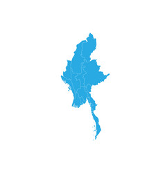 Map myanmar high detailed map - myanmar vector