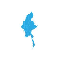 map of myanmar high detailed map - myanmar vector image