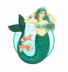 mermaid girl with crown isolated vector image