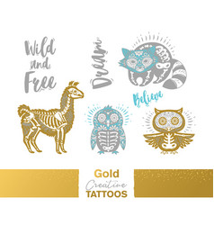 metallic temporary tattoos gold silver sugar vector image