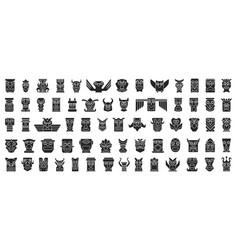 Native totem black set icon vector