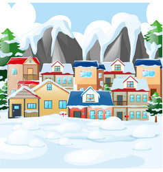 Neighborhood scene with houses covered by snow vector