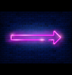 Neon arrow pink sign with a brick wall vector