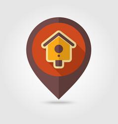nesting box bird-house flat pin map icon vector image