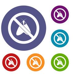 No moth sign icons set vector