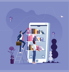 online reading-mobile library concept vector image