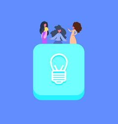 people group on light lamp idea icon creative team vector image